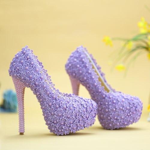 Chaussures de mariage en dentelle coréenne talons hauts violet imperméable plate-forme chaussures de mariée robe de mariée chaussures de demoiselles d'honneur grande taille