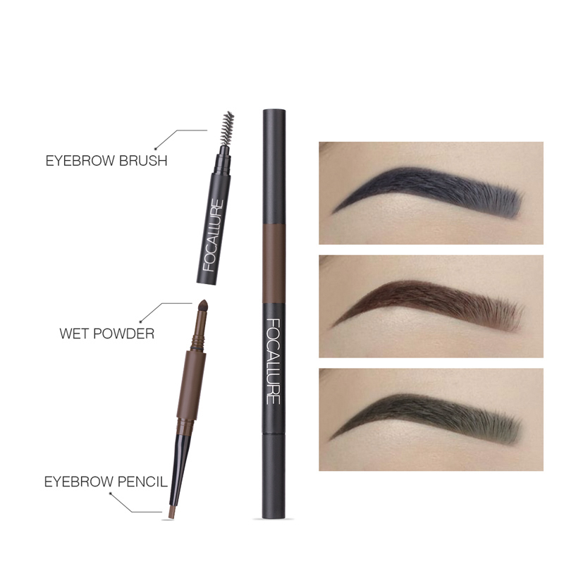 FOCALLURE Eyebrow Rotation 3 in 1 Eye Makeup Auto Brows Pen waterproof Brow with Brush Fashion&HOT Powder pencil