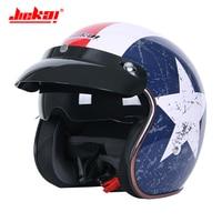 JIEKAI Motorcycle Helmet 3/4 Open Face Half Helmet Casque Moto Retro Scooter Chopper Motorcycle Moto Helmet With Double Lens