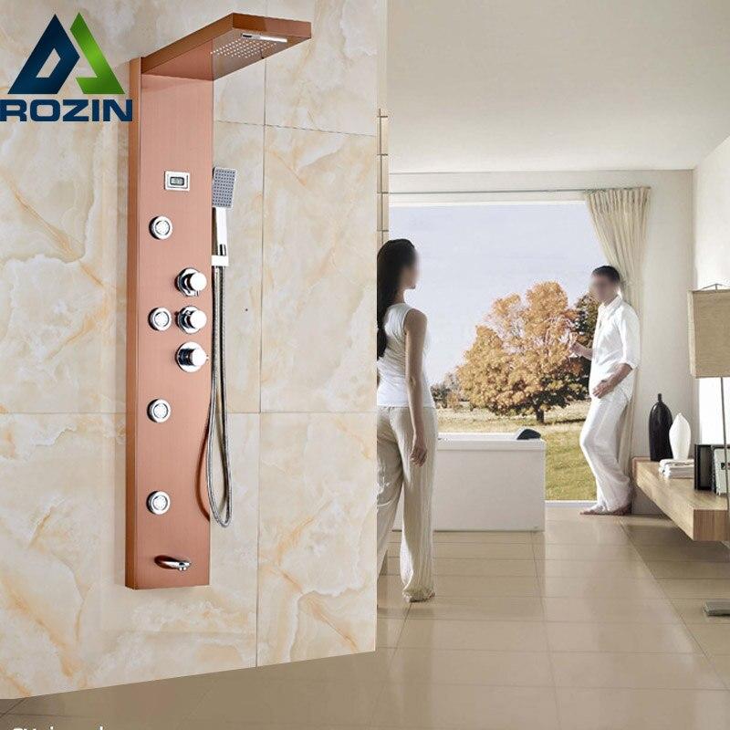 цена на Thermostatic Mixer Valve Rose Golden Shower Panel Waterfall Rain Shower Set Massage System Hand Shower Tower Shower Column