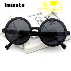Imwete, женские круглые мужские и женские солнечные очки, классические ретро солнечные очки с покрытием, разноцветные линзы, зеркальные очки