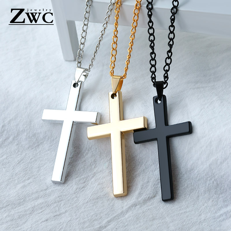 ZWC Fashion Stainless Steel Gold Silver Cross Necklace For Women Men Vintage Chain Crystal Pendant Long Necklaces Jewelry Gift