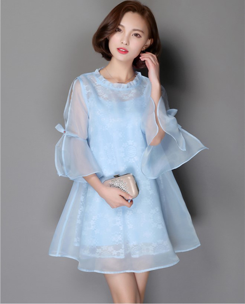 2016 Hot New Designer Womens Fashion Organza Loose Dresses Girls Casual Summer Holiday Beach -7091