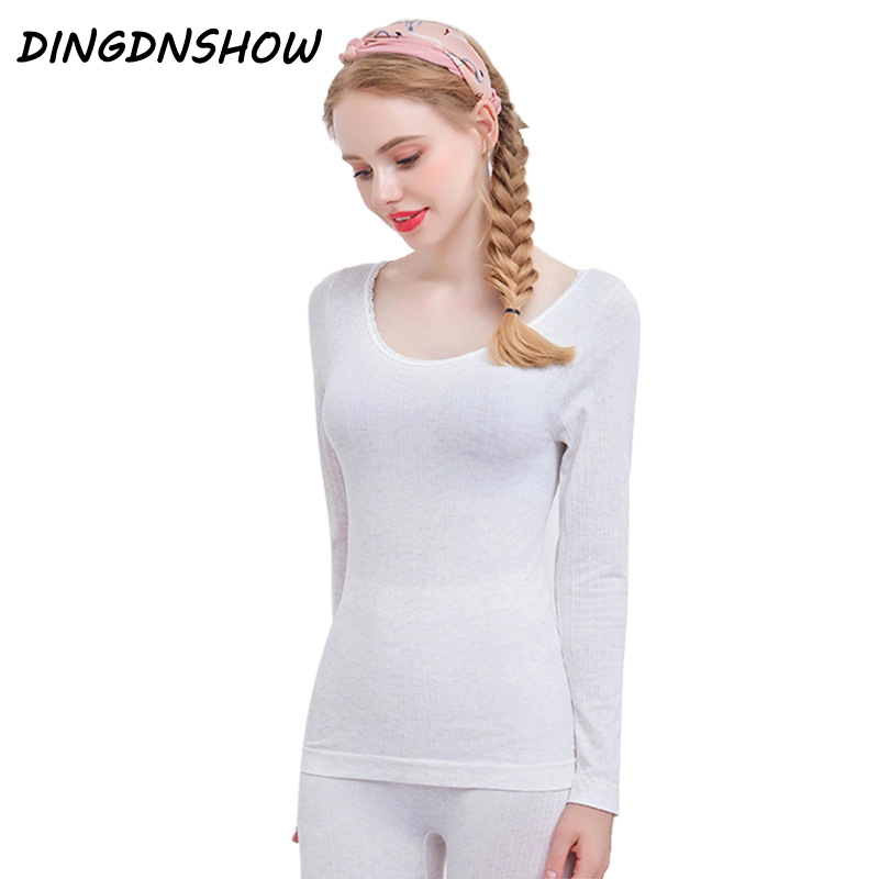 [DINGDNSHOW] 2019 New Arival Long Johns Warm Cotton Thermal Underwears Women Winter Clothing Seamless Antibacterial Sets