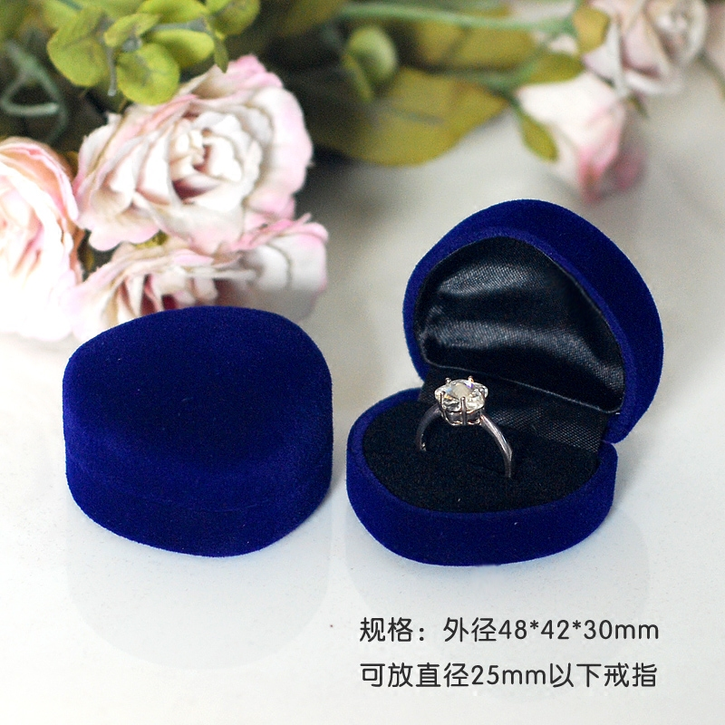 48pcs lot Available Blocked Wedding Royal Blue Velvet Jewelry Earring Ring Storage Box Gift Packing Box