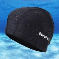 Free size Elastic Waterproof Fabric Swim Cap Ears Long Hair Protection Sports Swim Pool Hat Swim Capfor Men & Women