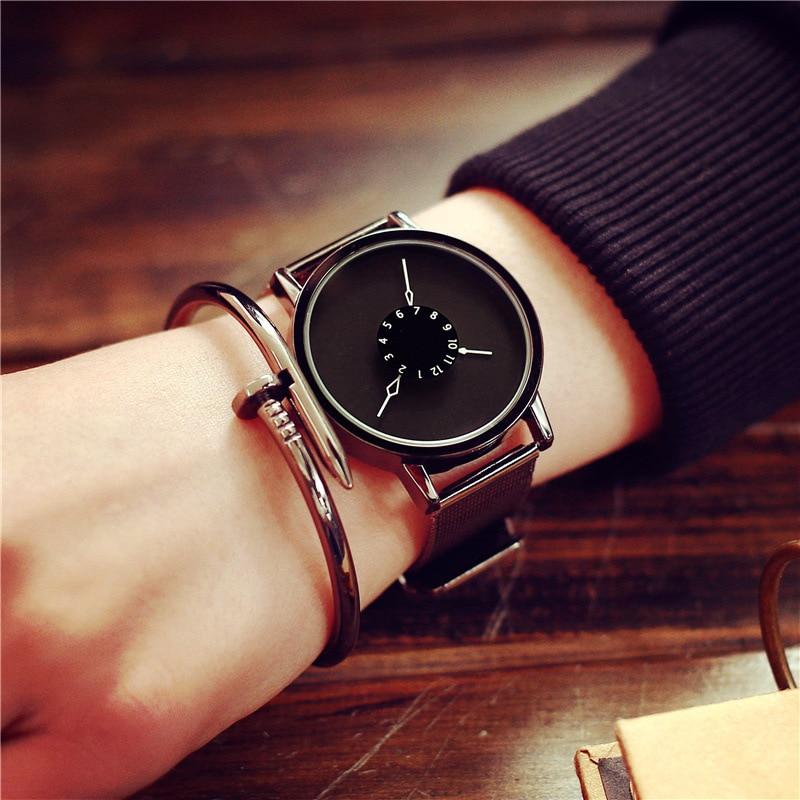 Fashion Women Men Quartz Watch Simple Unique Watches Face Design With Steel Mesh Band Lovers&#39 Wristwatches Girl Cloc 2