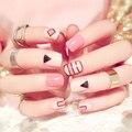2016 de Septiembre nueva pink plástico de la cubierta completa extremidades falsas del clavo uñas naturales corta uñas artificiales para la vida diaria (no Contiene pegamento)