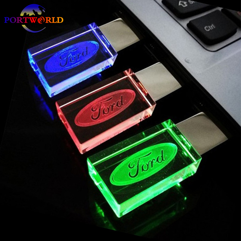 pen drive ford 16gb usb drive 8gb crystal transparent led light with 3 colors usb2 0 32gb memory. Black Bedroom Furniture Sets. Home Design Ideas