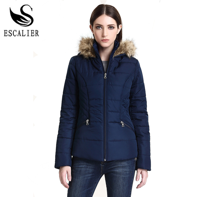 ESCALIER 2017 New Winter Down Parkas Women Fashion Coat Solid Color Cotton Casual Winter fur Parker Free Shipping