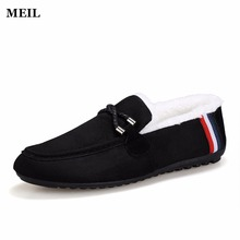 Cotton Winter Bow Tie Men Slippers Soft Keep Warm Solid Plush Home Blue Black Shoes With Fur Cotton-Padded Shoes
