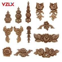 VZLX цветок резьба по дереву из натурального дерева аппликации для мебельного шкафа неокрашенные деревянные молдинги Наклейка декоративная фигурка