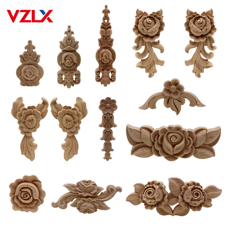 VZLX New Flower Wood Carving Natural Wood Appliques for Furniture Cabinet Unpainted Wooden Mouldings Decal Decorative Figurine