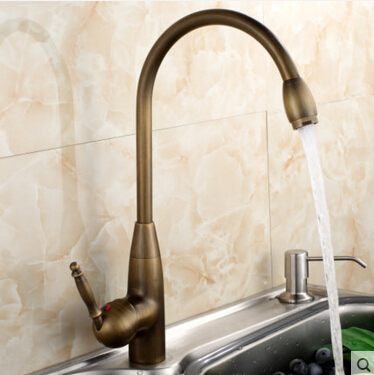 new arrival high quality brass material 360 degree antique finished kitchen faucet sink faucet with plumping