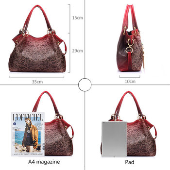 Top-handle Bags for Women Hollow Out Ombre Handbag Floral Print Shoulder Bag 4