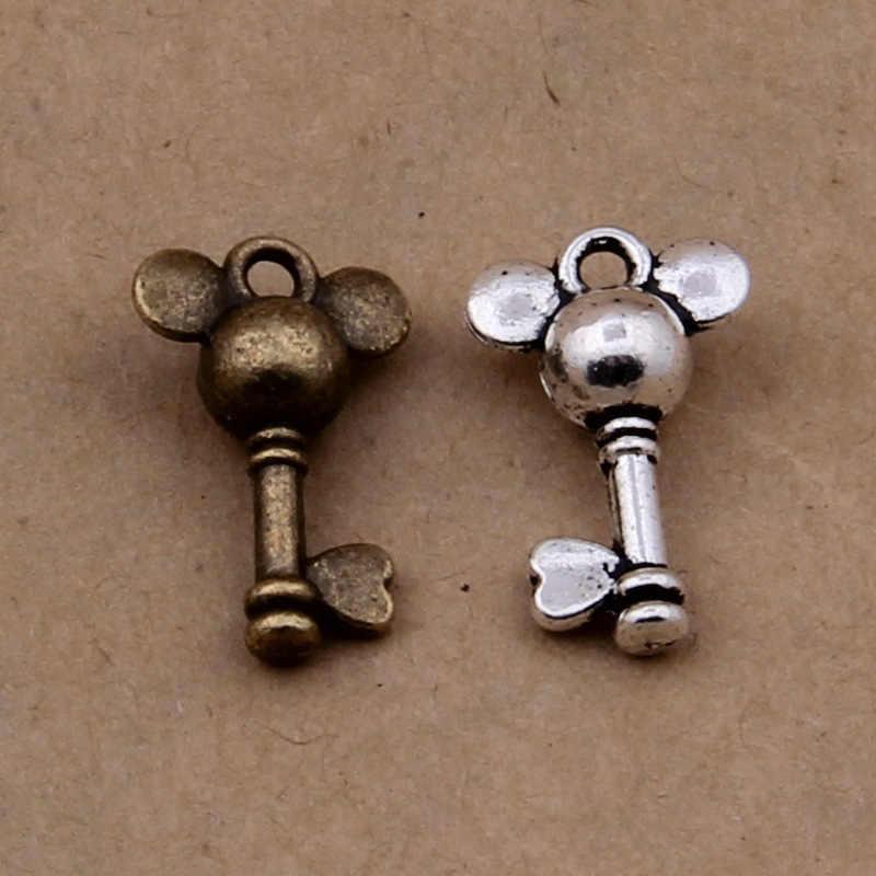 100 pcs Do Vintage Mickey Mouse charme Chave para a tomada de Corrente/sacos/vestuário/brincos/Decorações de presente moda Acessórios da jóia DIY