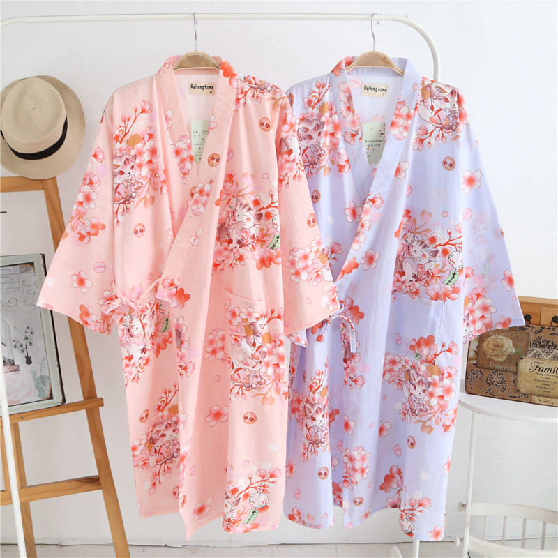 Cotton Bathrobes Summer Cotton Robes For Women Cotton -4401