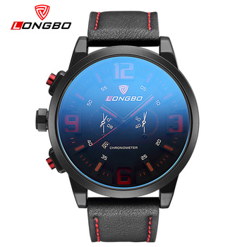 LongBo Sport Watch Blue Special Date Classic Design Leather Band Military Tag Waterproof Quartz Men Watches Left-handed Design