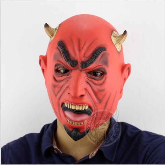 Страшно Красный Хэллоуин Маска латекс дьявол Призрак Маска С бык рогом и эластичный шнур для карнавалов маскарады Тушь для ресниц Хэллоуин