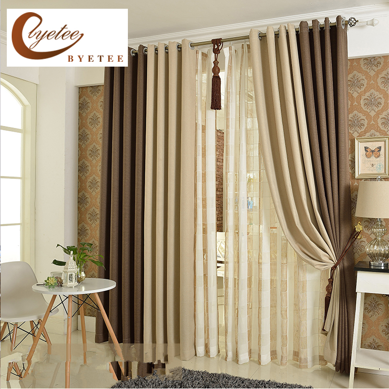 byetee Korean solid color linen curtain shade cloth simple cotton curtains livingroom curtain bedroom finished custom