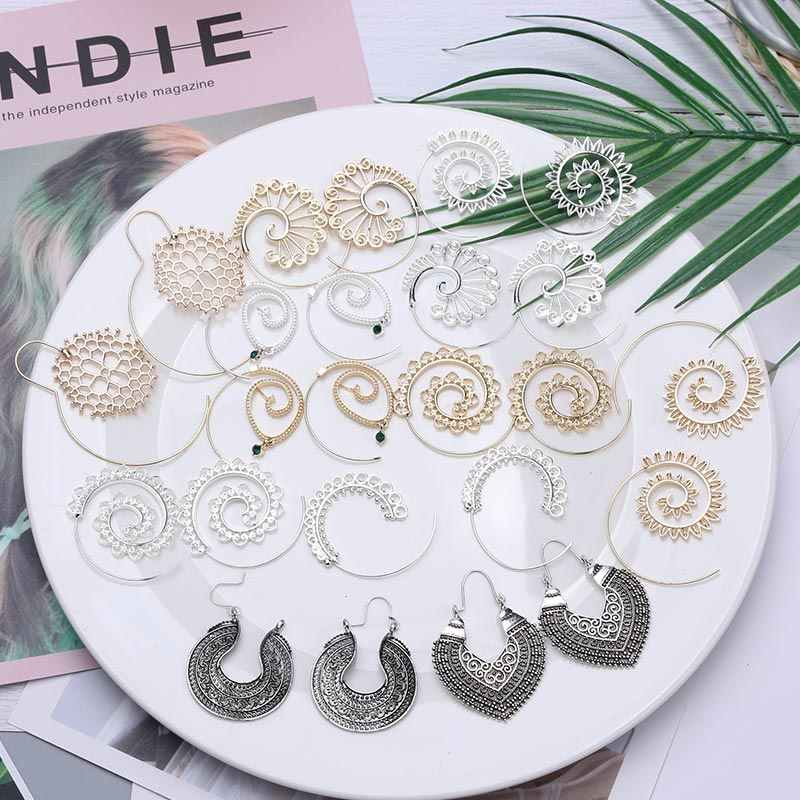 Bohemian Vintage Tribal Swirl Spiral Hoop Earrings For Women 2019 Fashion Statement Geometric Earrings Gold Color Ancient Silver