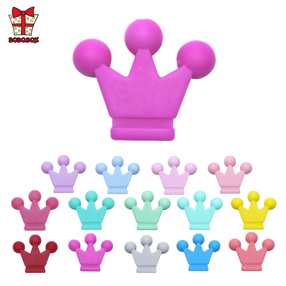 BOBO.BOX 10pcs Crown Silicone Beads Baby Teething Toys Food Grade DIY Necklace Bracelet Pacifier Chain Silicone Teether BPA Free