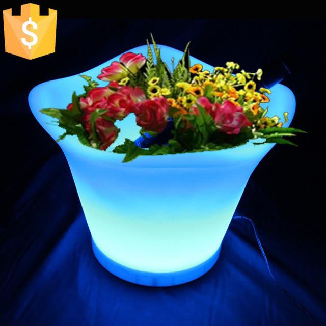 L32*W32*H27.2cm Glowing light up LED flower pot color changeable RGB Colors LED Planters Pot led vase decoration Garden 4pcs/Lot : glowing flower pots - startupinsights.org