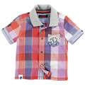New Baby pink grid Shirt Boys Knitting lapel short sleeve shirts Children tops wholesale