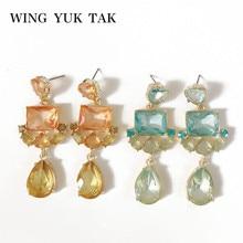 Крыло yuk tak, модные классические геометрические серьги-капли с кристаллами, Женские Ювелирные Аксессуары для вечеринки
