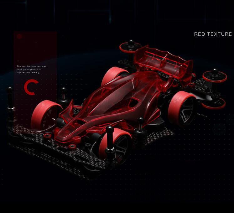1/32 échelle Tamiya Mini 4WD voiture de course modèle AR châssis avec mise à niveau des pièces de rechange rouge Version transparente (non assemblé)