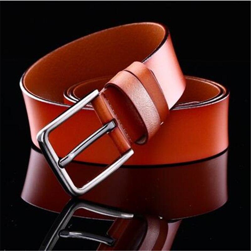 2 layer cowhide men belt business casual mens belts pure color pin buckle belt men 110cm 160cm