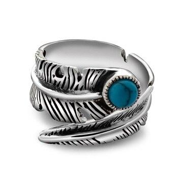 Реальные кольца из стерлингового серебра 925 для мужчин и женщин Винтаж Кольцо женское с ювелирные изделия из натурального камня регулируем... >> GQTorch Official Store