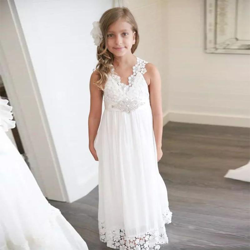 Flower Girl Bridesmaid Dresses: 2018 Bohemia Little Girls Formal Dress White Lace Chiffon