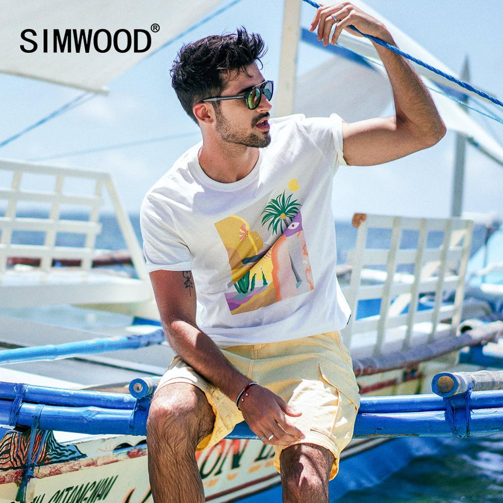 SIMWOOD 2019 Summer New T-shir Tmen Vacation Beach Top High Quality Casual Tees 100% Breathable Tshirt Brand Clothing 190344