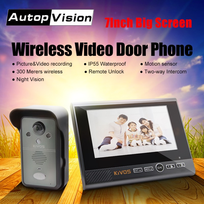 """2018 New 7"""" Monitor Wireless Video Doorbell Door Phone Camera KDB702 Home security access control system video intercom system"""