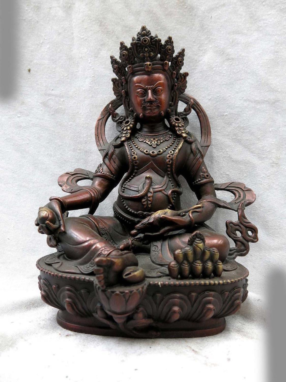 Fine Red bronze sculpture China buddhism copper Yellow Jambhala buddha Statue