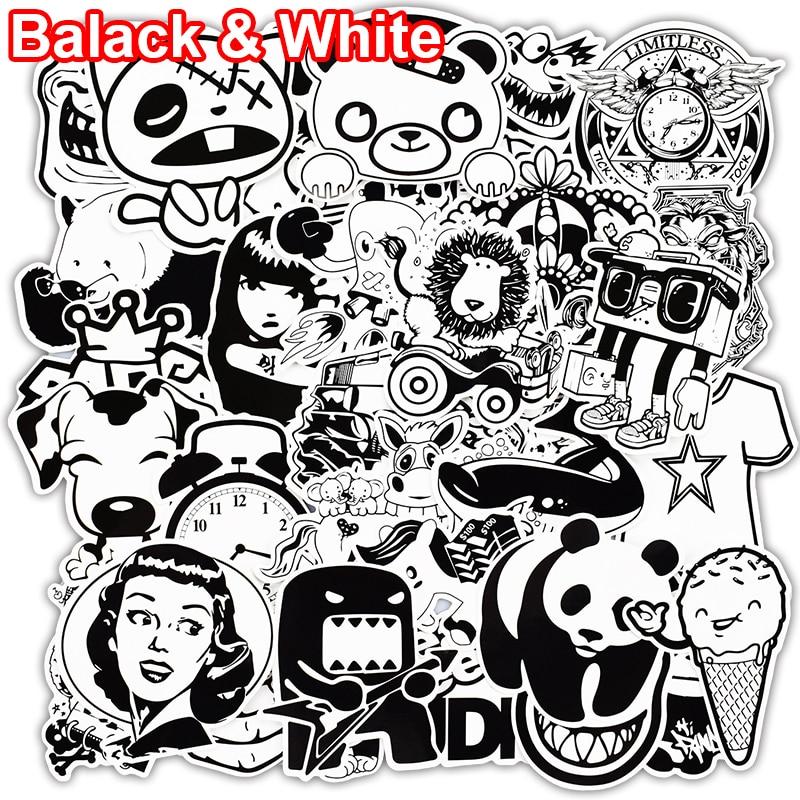 101 Pcs Black and White Sticker Snowboard Car Styling Sleigh Box Luggage Fridge Toy Vinyl Decal