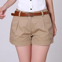 2017 Summer Women S High Waist Shorts No Belt Loose Casual Cotton Dual Pockets Retro Short
