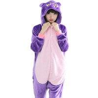 Purple Cat Unisex Adults Flannel Hooded Pajamas Cosplay Cartoon Cute Animal Onesies Sleepwear For Men Women