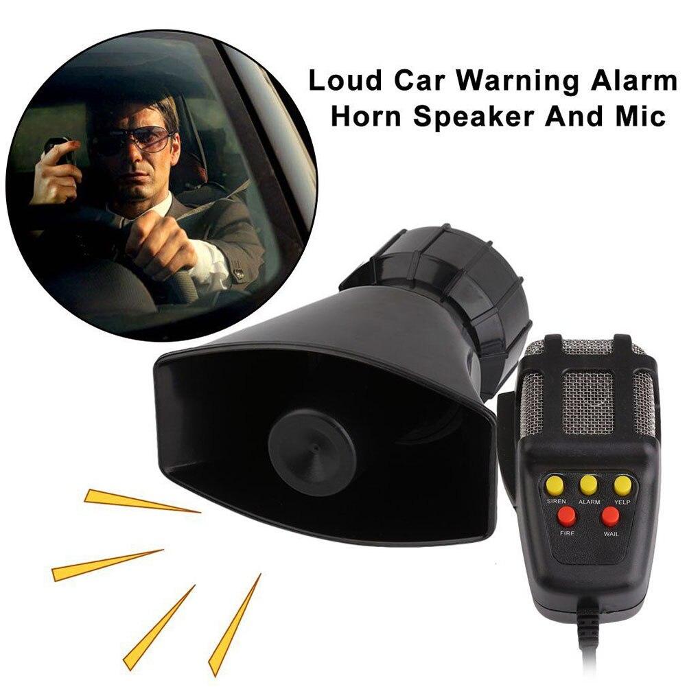 5 Sound Loud Car Warning Alarm Police Fire Siren Horn PA Speaker MIC System CSL2017