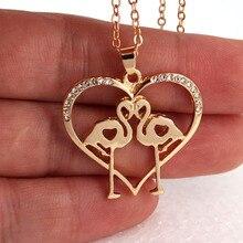 hzew new heart shape two Flamingos pendant necklace fashion tiny Flamingo pendant Chic necklaces gift flamingos