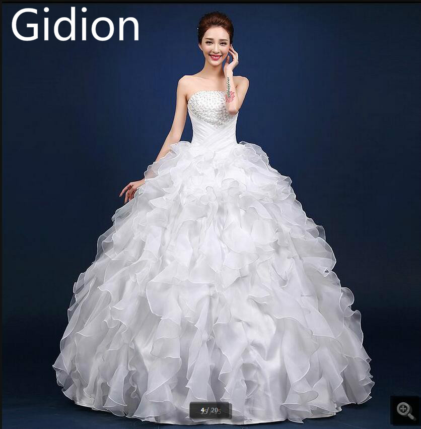 Ruffled Ball Gown Wedding Dress: 2017 Real Picture Ball Gown Ruffled White Pearls Wedding