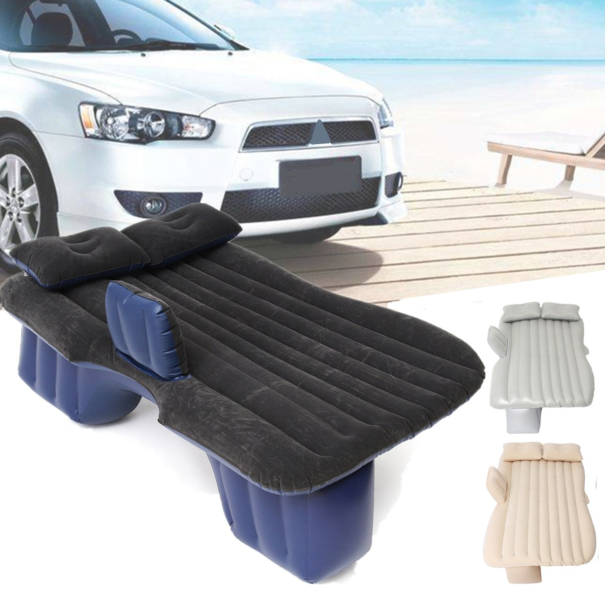 New Flocking Cloth Car Back Seat Cover Car Air Mattress Travel Bed Inflatable Mattress Air Bed Good Quality Inflatable Car Bed large size durable car back seat cover car air mattress travel bed moisture proof inflatable mattress air bed for car interior