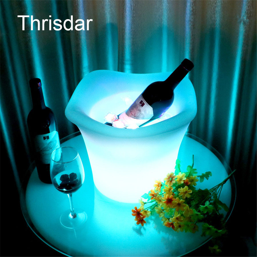 Thrisdar IP68 Waterproof Rechargeable Led Illumianted Ice Bucket KTV Bar Party Champagne Wine Beverage Drinks Beer