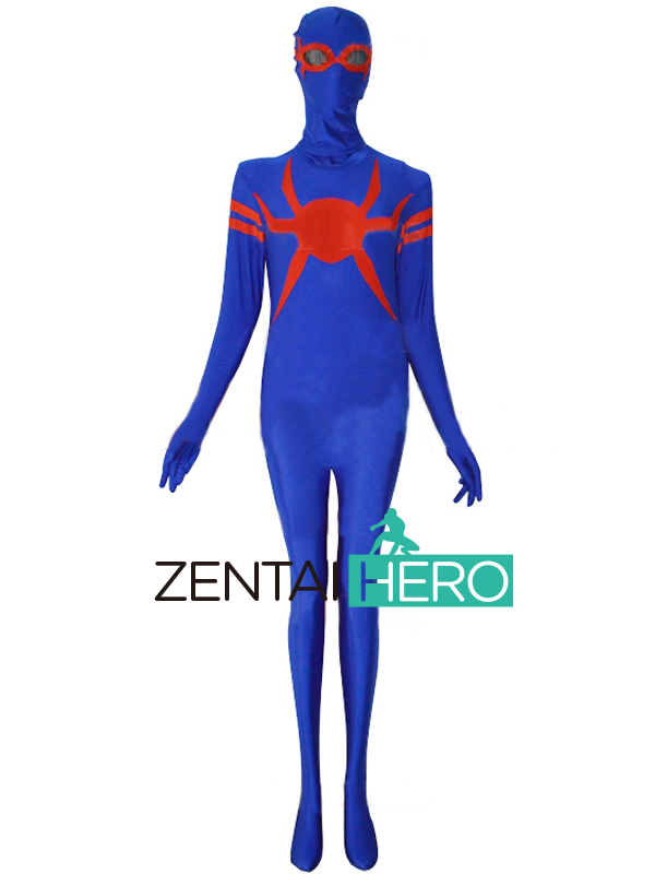 Free Shipping DHL NEW Fullbody Blue And Red Zentai Catsuit Spider-Man Costume Lycra Spandex Super Hero Cosplay Halloween Costume