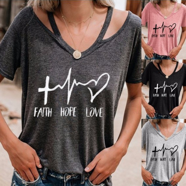New Arrival Women Casual T-shirt Love Printed T-shirts  Short Sleeve V-neck Summer Tee