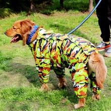 Camouflage Large Dog Raincoat Waterproof big dogs Jumpsuit for Labrador Shepherd Golden Retreiver Samoyed Rain clothes ZL175