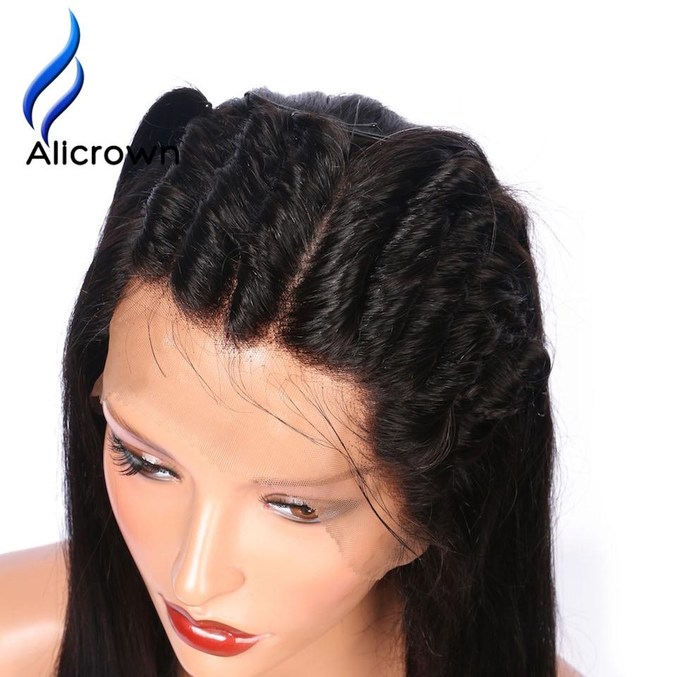 ALICROWN グルーレスフルレース人毛かつらブラジルの Remy 毛のフルレースかつら漂白ノット  グループ上の ヘアエクステンション & ウィッグ からの フル レース ウィッグ の中 3