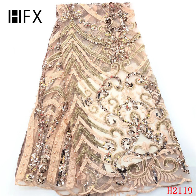 HFX African Lace Fabric Beaded Lace Fabric 2019 High Quality nigerian embroidery beads sequins bridal lace fabric 5yards F2119