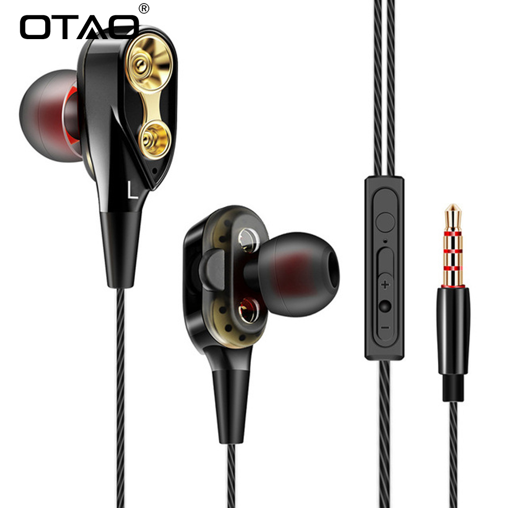 OTAO Double Unit Drive In Ear Headset Bass Subwoofer Stereo Earphones With Microphone For iphone MP3 DJ Sport Running earbuds remax rm502 wired clear stereo earphones with hd microphone angle in ear earphone noise isolating earhuds for mp3 iphone xiaomi